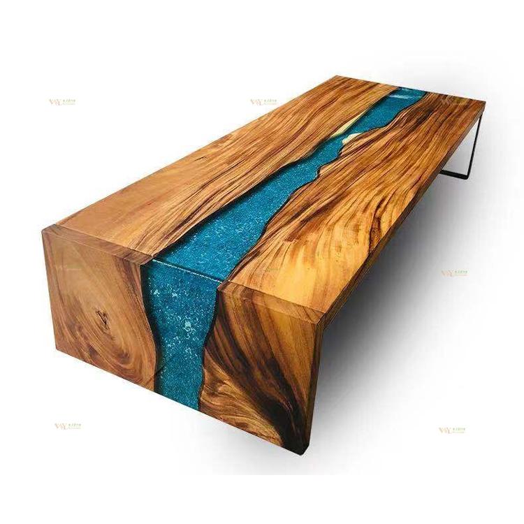 Table Bois Massif Unique Slab Noyer En Resine Epoxy